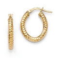 Italian 14k Gold Polished & Textured Hoop Earrings - Thumbnail 0