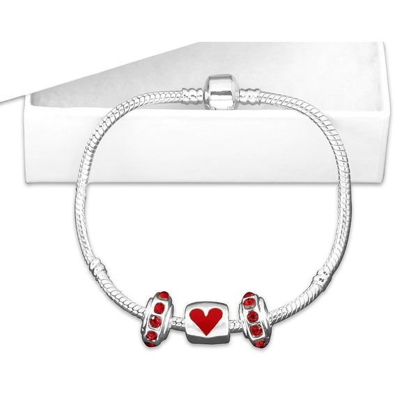 Chunky Charm Heart Bracelet for Heart Health Awareness- 7 Inches - Red