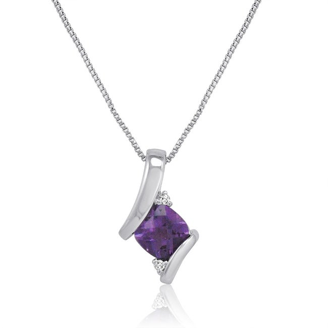 Amanda Rose Sterling Silver Amethyst and Diamond Pendant-Necklace (3/4ct tgw)
