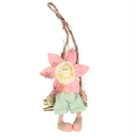 "23"" Pink Green and Tan Spring Floral Hanging Sunflower Girl Decorative Figure"
