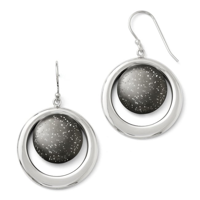 Sterling Silver Rhodium-plated & Ruthenium-plated Radiant Essence Earrings