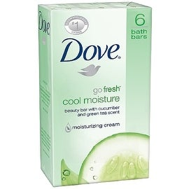 Dove Go Fresh Beauty Bar, Cool Moisture, 4 oz bars, 6 ea