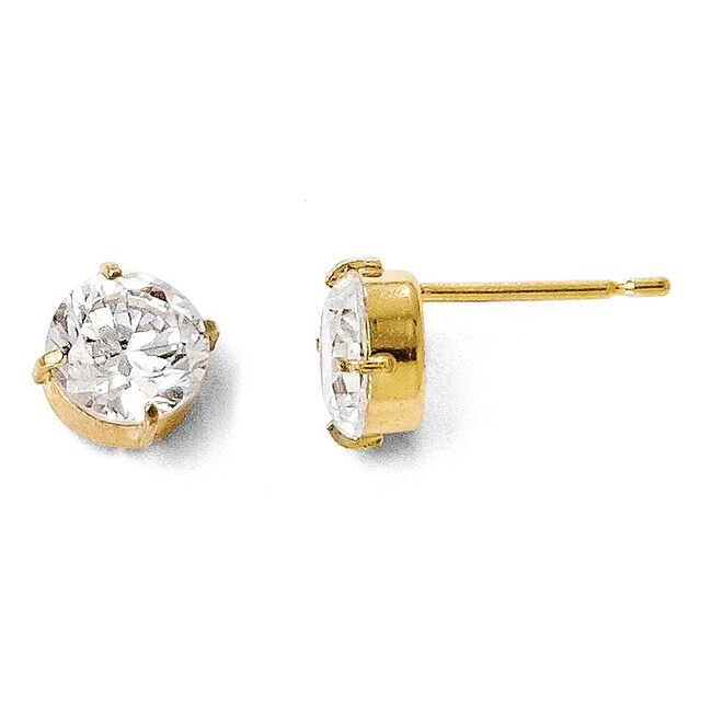 14k Gold Cz Stud-6.0mm Earrings