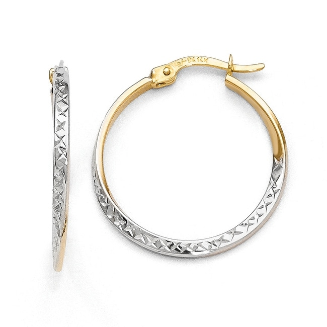 14k Gold with White Rhodium-plated Diamond Cut Hinged Hoop Earrings