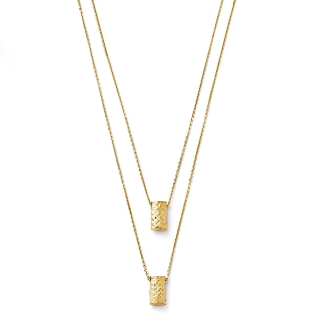 Italian 14k Gold Two Layer Diamond Cut Necklace - 18 inches