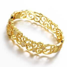 Vienna Jewelry Gold Plated Hollow Laser Cut Classic Design Inspired Bangle