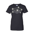 Women's Juniors T-Shirt Rhinestones Live To Ride Skull & Angel Wings Biker Tee - Thumbnail 5
