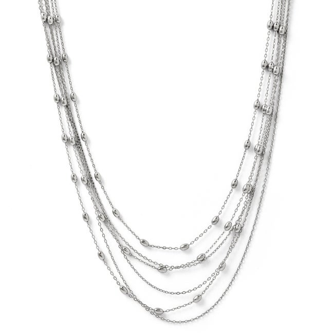Italian Sterling Silver Polished Six Strand Beaded Necklace - 16 inches