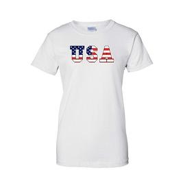Women's USA Flag Juniors T-Shirt Stars & Stripes American Patriotic Pride Tee