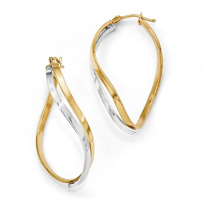 Italian 14k Two-Tone Gold Polished Oval Twisted Hinged Hoop Earrings