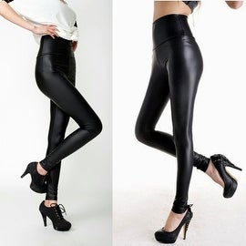 Fashion Sexy Women High Waist Shiny Black Stretchy Faux Leather Pants Leggings