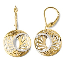 10k Two-Tone Gold Polished and Satin Leverback Earrings