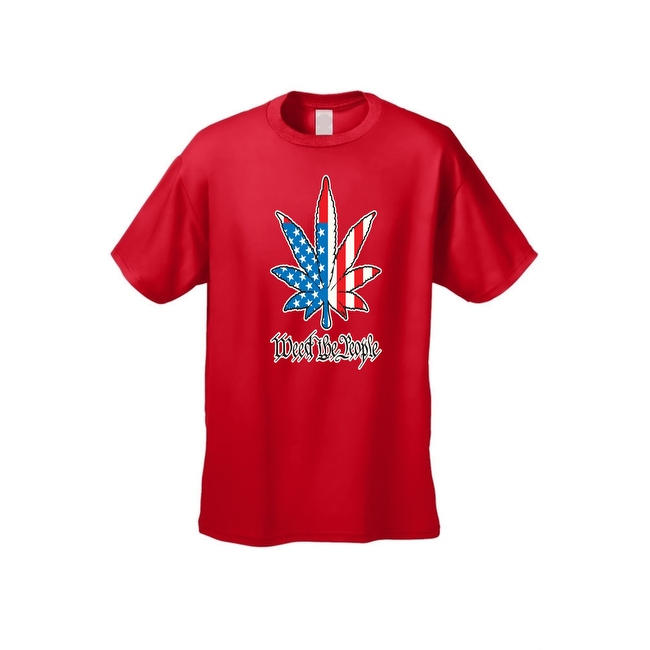 USA Flag Men's T Shirt Weed the People Stars & Stripes Pot Marijuana Smoking