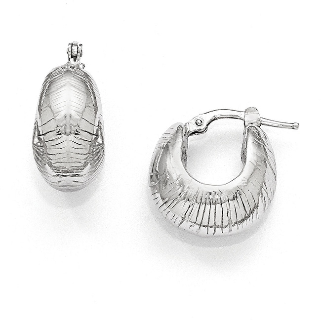 Italian Sterling Silver Polished and Textured Hinged Hoop Earrings