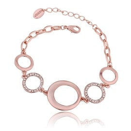 18K Rose Gold Plated Large Circles Bracelet with Swarovski Elements