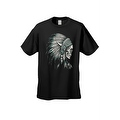 Men's T-Shirt Native Chief Skull Graphic Tee Indian American Feathers Bones - Thumbnail 6