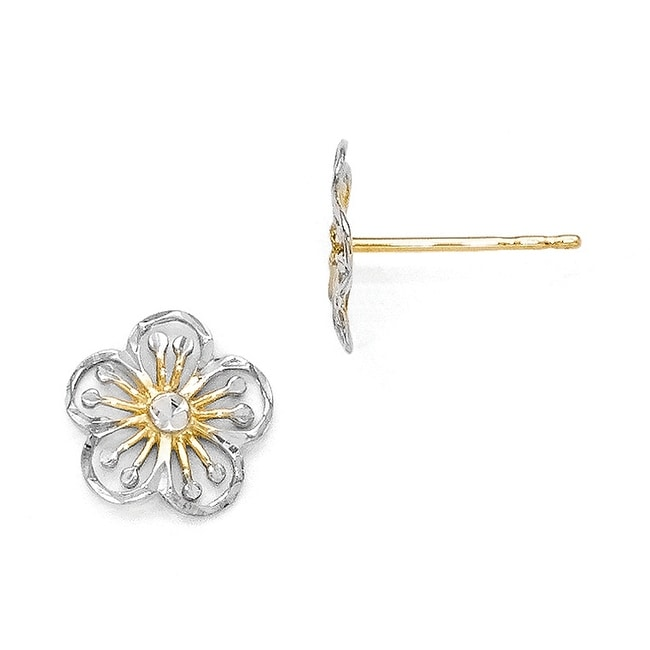 14k Gold with White Rhodium-plated Polished and Diamond Cut Post Earrings