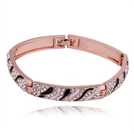 18K Rose Gold Black & White Swirl Pave' Bracelet with Swarovski Elements