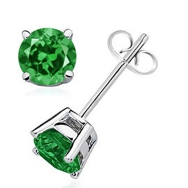 Angara 6mm Classic Four Prong Set Lab Created Emerald Basket Stud Earrings in Silver
