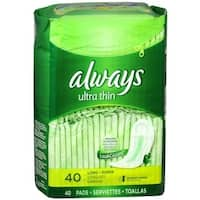 Always Ultra Thin Pads without Wings, Unscented, Long Super 40 ea