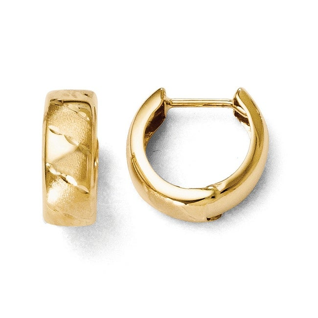 14k Gold Polished and Satin Hinged Hoop Earrings