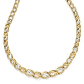 Italian 14k Two-Tone Gold Polished, Brushed & Textured Link Necklace - 16.75 inches