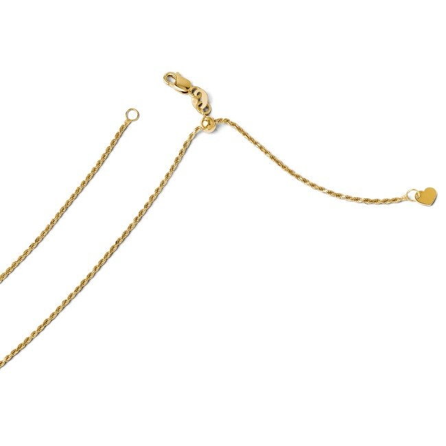 Italian 14k Gold Diamond Cut Adjustable Rope Chain - 22 inches