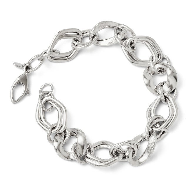 Italian 14k White Gold Polished and Textured Fancy Link Bracelet - 7.5 inches