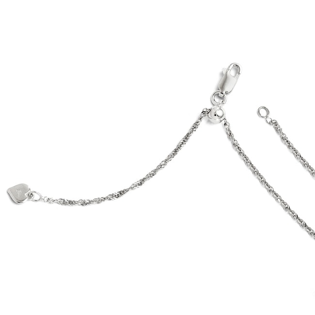 Italian Sterling Silver Adjustable Singapore Chain - 22 inches