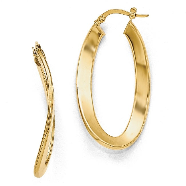 Italian 14k Gold Polished Oval Hinged Hoop Earrings