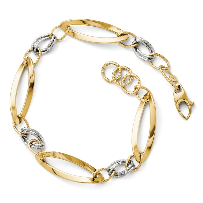Italian 14k Two-Tone Gold Polished and Diamond Cut Link with 1/2in. ext. Bracelet - 7.25 inches