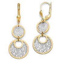 14k Gold with White Rhodium-plated Polished & Textured Leverback Earrings