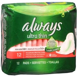 Always Ultra Thin Extra Long Super Pads with Wings 12 ea