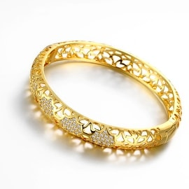 Vienna Jewelry Gold Plated Dazzle Diva Bangle