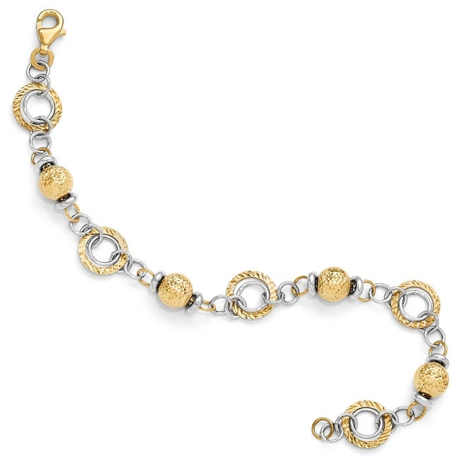 Italian 14k Two-Tone Gold Polished and Diamond Cut Fancy Link Bracelet - 7.75 inches