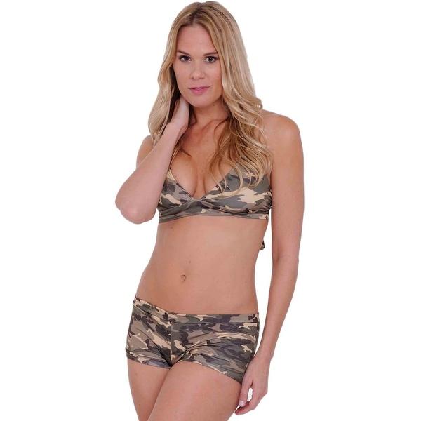 Women's Camo 2-Piece Bikini Bathing suit Halter Top & Hot Shorts Beach Swimwear