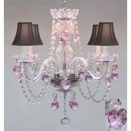 Crystal Chandelier Lighting With Black Shades & Pink Crystal*Hearts*