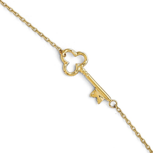 14k Gold Polished Key Anklet with 1in ext - 9 inches