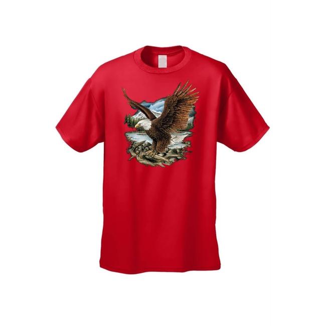 Men's T-Shirt Bald Eagle In Nature Mountains Wildlife American Pride Symbol Tee