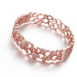 Vienna Jewelry Rose Gold Plated Roman Inspired Laser Cut Bangle