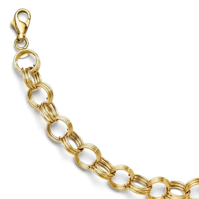 14k Yellow Gold Fancy Link Bracelet - 7 inches