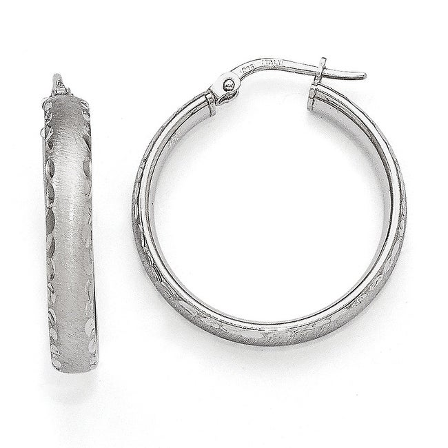 Italian Sterling Silver Radiant Essence Rhodium-plated Hinged Hoop Earrings
