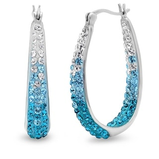 Amanda Rose Sterling Silver Teal Blue Hoop Earrings made with Austrian Crystals