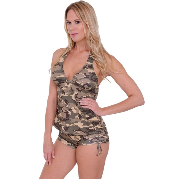Women's Camo 2-Piece Bikini Bathing Tankini & String Shorts Beach Swimwear Swimsuit