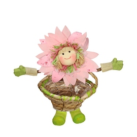 "15"" Pink Green and Tan Spring Floral Sunflower Girl with Basket Decorative Figure"