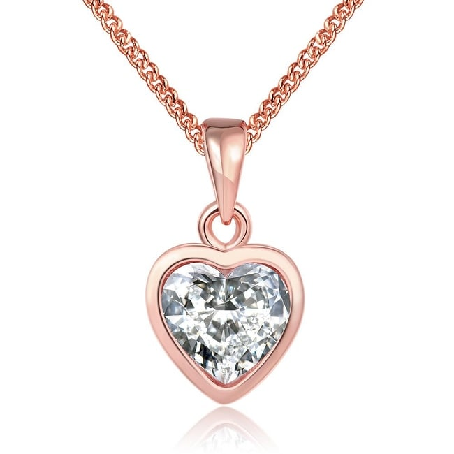 18K Rose Gold Plated Pure White Heart Bridal Necklace