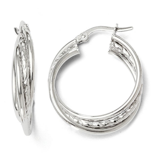 Italian 14k White Gold Polished and Textured Twisted Hoop Earrings