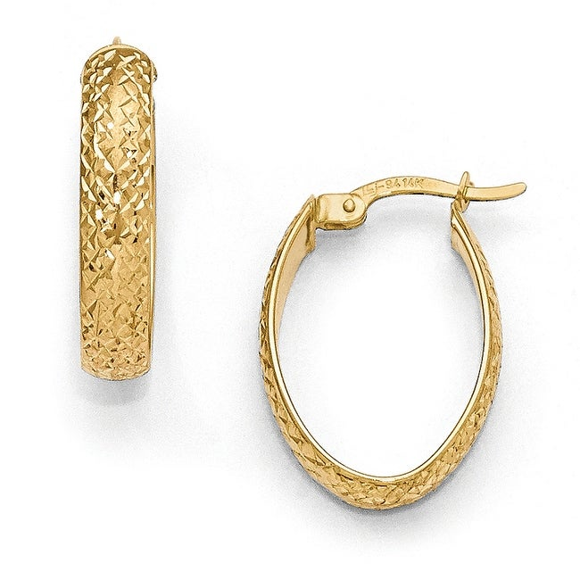 14k Gold Diamond Cut Oval Hinged Hoop Earrings