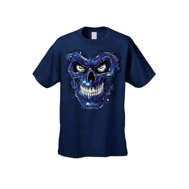 Men's T-Shirt Metallic Robotic Blue Skull Skeleton Wired Terminator Graphic Tee