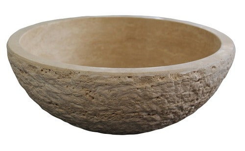 Chiseled Round Natural Stone Vessel Sink - Light Travertine